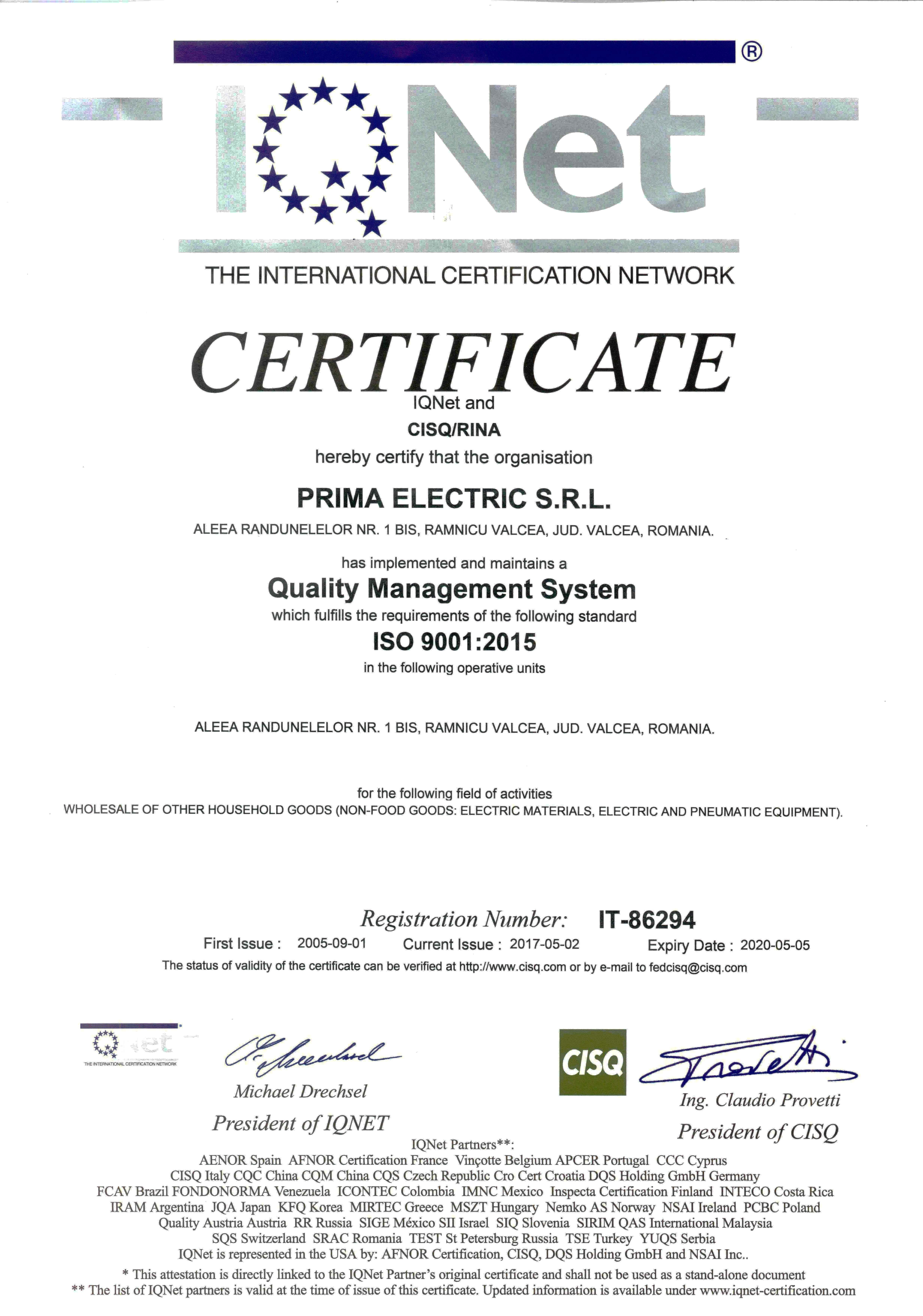 ISO 9001.2015 IQNET